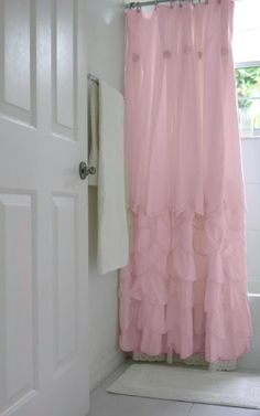 Ruffled Shower Curtain - this would be so cute in the girls bathroom!