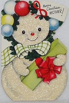 #1283 50s Rust Craft Glittered Snowman-Vintage Christmas Greeting Card