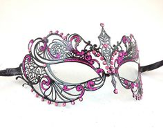 Masquerade Ball Mask- Luxury Filigree Metal Venetian Mask w Glitters and Color Crystals on Etsy, $27.95
