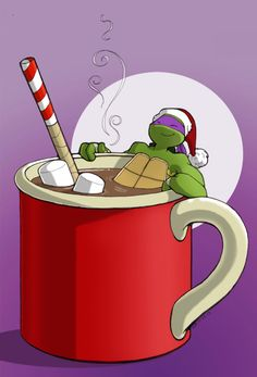 OP: Nothing like warming up with a cup of hot chocolate. Donnie even brought his peppermint bo staff :) | TMNT 2012