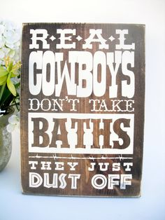 Western Rustic Wood Bathroom Sign Real by InTheDustDesigns