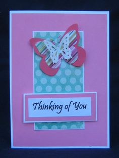 Thing of you card created with My Minds Eye paper and EK Success butterfly punches