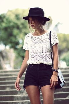Simple summer fashion: crochet top, black shorts, hat.