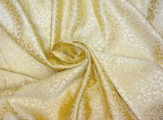 YELLOW-GOLD-FAUX-SILK-SHELL-JACQUARD-56-W-FABRIC-CURTAIN-UPHOLSTERY-TABLECLOTH