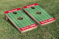 Our Minot State MSU Beavers Cornhole Game Set Football Field Version. Get your custom set at victorytailgate.com