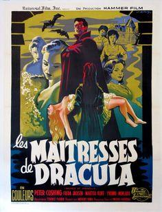 Brides of Dracula Vampire Hammer Horror French Movie Poster Horror Movie Posters, Horror Films, Horror Icons, Cinema Posters, Horror Art, Dracula, Vampires, Kitsch, Films D' Halloween