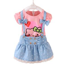 69933f779 2pcs Girls Dress Summer 2017 Kids Clothes Girls Dresses Hello Kitty Cartoon  Lovely Princess Toddler Girl