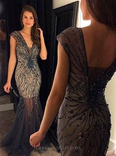 Sexy Prom Dresses, Mermaid Prom Dress, Tulle Evening Gowns, V Neck Party Dresses, Long Formal Dresses