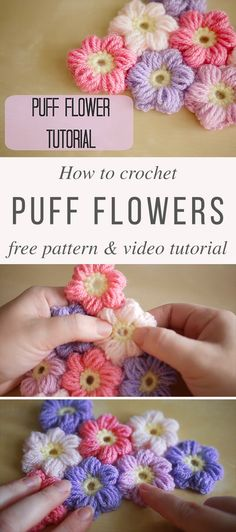 Crochet Puff Flower Puff Flowers Crochet Pattern Tutorial - I love crocheting every single day, so today I'm going to make this beautiful puff flower doily for my family. Also, I'm sharing with you the free pattern and the video tutorial of it. Crochet Puff Flower, Crochet Flower Tutorial, Crochet Diy, Crochet Flower Patterns, Love Crochet, Crochet Designs, Crochet Flowers, Beautiful Crochet, Yarn Flowers