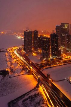 LSD-Lake Shore Drive over the Chicago River, gorgeous winter evening view (Chicago in Winter, Day Chicago River, Chicago City, Chicago Illinois, Chicago Lake, Snow In Chicago, Chicago In The Winter, Chicago Usa, Chicago Skyline, Chicago Photography