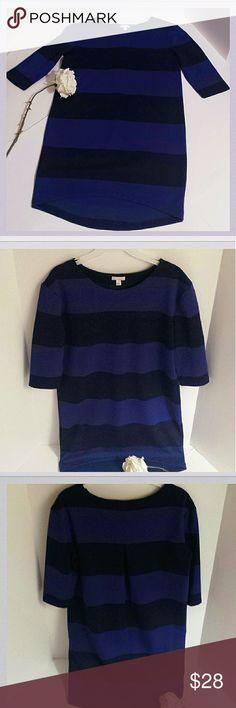 "*Winter Sale* Gap Bluish Purple/Black Stripe dress Gap shift dress in deep purple and black stripes. Size small. Length: (front)32"" ( back)36"" Sleeves: 14.5"". Chest: (underarm to underarm front) 18.5"". GAP Dresses Midi"