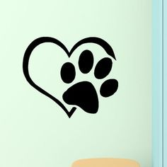 DecaltheWalls Heart with Paws Pet Vinyl Wall Decal Color: Black