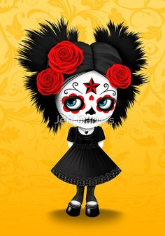 Red and Yellow Big Eyes Sugar Skull Girl Playing the Guitar Art Print by Jeff Bartels - X-Small Day Of The Dead Girl, Day Of The Dead Skull, Sugar Skull Mädchen, Candy Skulls, Chicano Art, Rose Art, 5d Diamond Painting, Mexican Art, Mexican Skulls