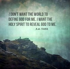 I dont want the world to define God for me. I want the Holy Spirit to reveal God to me. Aw Tozer Quotes, Faith Quotes, Bible Quotes, Me Quotes, Pastor Quotes, Qoutes, Great Quotes, Inspirational Quotes, Soli Deo Gloria