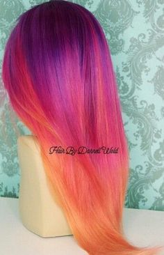 Purple orange ombre hair color I wish I could do something like this with my hair