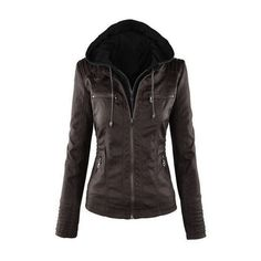 Yoins Coffee Leather Look Hooded Jacket With Side Pockets ($57) ❤ liked on Polyvore featuring outerwear, jackets, vegan jackets, hooded jacket, fake leather jacket, hooded zip jacket and zipper jacket