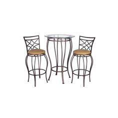<p>Dine, drink and entertain with this stylish, sleek bistro table set. The metal frames of the table and chairs are durable, and the bronze finish goes with any style of décor. Plus, the padded, upholstered seats are inviting and comfortable.</p>