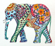 Original Watercolor Elephant with Colorful Tattoo Patterns:
