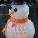 Snowman from plastic caps
