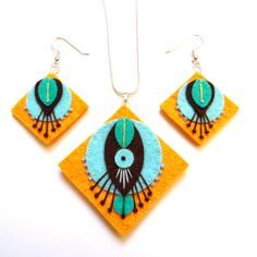 DECO NECKLACE and EARRINGS  Felt and hand by designedbyjane, £19.50