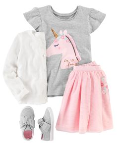 Perfect for school or play this outfit features a flutter-sleeve unicorn tee and an embroidered tutu skirt. Add a sweet bow cardigan and Mary Jane sneakers to complete this cute look. - April 14 2019 at Baby Outfits, Outfits Niños, Little Girl Outfits, Little Girl Fashion, Kids Outfits, Toddler Girl Style, Toddler Girl Outfits, Toddler Fashion, Kids Fashion