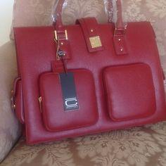 Nikki Chu Computer Bag Red leather computer bag.  New. Nikki Chu  Bags