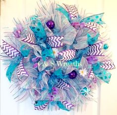 Purple, White and Teal (turquoise) Spring/Summer mesh wreath