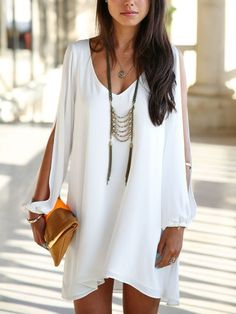 White Chiffon Shift Dress With Slip Sleeves