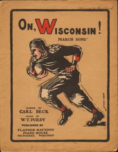 On Wisconsin 1910 Sheet Music Badger Football Large Format | eBay