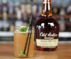 Bourbon Refresher | 2   oz   W.L. Weller Antique 107 | ¾  oz   simple syrup | ¾  oz   lemon juice | 1 dash of Angostura bitters | 5 mint leaves and 1 sprig of mint for garnish | Fill a mason jar with ice. Shake ingredients with ice and pour. Garnish with a mint sprig.