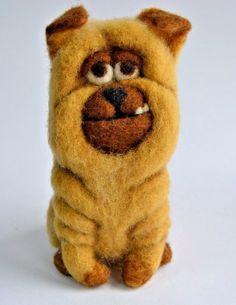 OOAK Needle felted toy shar pei dog handmade doll artist wool miniature 5.5in #Handmade