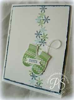 SU! Make a Mitten stamp set in Midnight Muse, Baja Breeze and Gumball Green - Penny Smiley