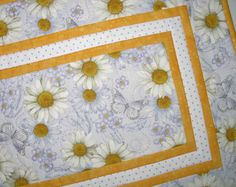 Daisy Table Runner Spring Summer  focus by PicketFenceFabric