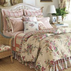 Triangle quilt, striped Euro Pillows, and patterned sheets. Nix the floral and plaid.