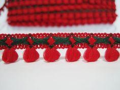 5 Yards Red Mini Pom Pom with Pine Green Stitch Trim by ichimylove
