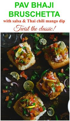 Pav bhaji bruschetta is a delicious twist on the age old classic pav. Indian Appetizers, Vegetarian Appetizers, Indian Snacks, Indian Food Recipes, Vegetarian Recipes, Cooking Recipes, Snack Recipes, Pizza Appetizers, Wedding Appetizers