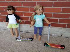 american girl doll scooter - easy made with cardboard, scrapbook paper and craft store wheels.