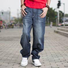 Brand Spring/Autumn Mens Fashion Blue Black jeans Pants Casual Loose Hip Hop Baggy Jeans Men Boot Cut Jens Plus Size 40 42 44 46