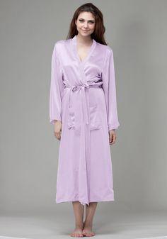 Silk women nightwear robes--Light-Purple robes #Silk #robes | Revesilk.com