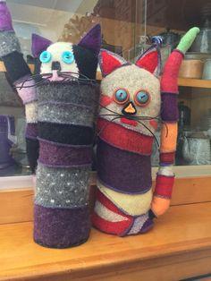 Scrappy Cats! Doorstops serged sweater pieces!