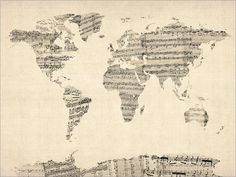 Map of the World Map from Old Sheet Music Art Print door artPause