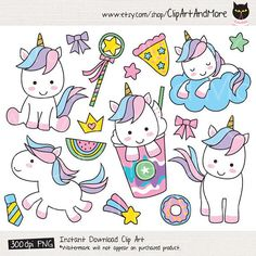 Cute unicorn vector EPS and PNG. You will receive: - 1 Vector EPS (Illustrator - 23 PNG files with transparent background. Unicorn Birthday, Unicorn Party, Cute Animal Clipart, Rainbow Clipart, Homemade Business, Doodles, Cute Unicorn, Printable Stickers, Cute Animals