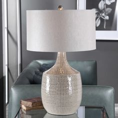 Uttermost Felipe Gray Table Lamp | #28205-1  This ceramic base keeps it simple in shape, yet upscale with its fashionable pattern that's finished in a distressed light gray glaze, paired with brushed nickel plated accents. The hardback drum shade is light gray linen fabric.