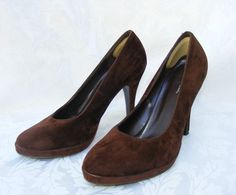 Charlotte Russe Brown Sueded Round Toe Classic Pumps, 9