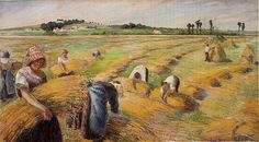 The Harvest …by Camille Pissarro. This oil painting on canvas was painted by the artist Camille Pissarro in 1882 Edouard Manet, Pierre Auguste Renoir, Paul Gauguin, Henri Matisse, Claude Monet, Famous Artists, Great Artists, Mark Rothko, Camille Pissarro Paintings