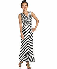 Elementz Petite Sleeveless Chevron-Print Maxi Dress -Macy's