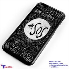 Black 5 SOS Quotes, 5 Seconds of Summer - Personalized iPhone 7 Case, iPhone 6/6S Plus, 5 5S SE, 7S Plus, Samsung Galaxy S5 S6 S7 S8 Case, and Other