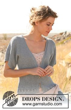 """Knitted DROPS jacket with short sleeves in """"Bomull-Lin"""". Size: S - XXXL. ~ DROPS Design"""