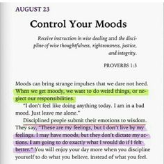 This is a great reminder not to let my mood get the best of me, affect my day, and those around me