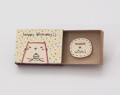 Cute Cat Birthday Card Matchbox/ Small Tiny Gift box/ by 3XUdesign